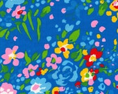 Vintage Blue Floral Fabric - 1 Yard