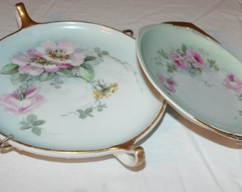 Altrohlau Porcelain Plates 1915, set of 2 with gold trim.