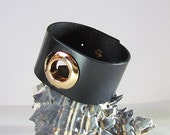 Black Leather Cuff with Rose Gold Circle
