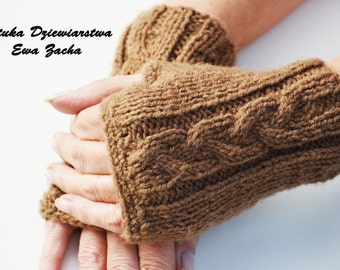 Brown Fingerless Mittens , fingerless gloves in handmade-warmers