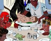 Demon Dinner - Original Art Print by Killtaker