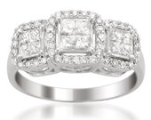 14k White Gold Princess-cut & Round Composite Diamond Engagement Ring (1 cttw, H-I, I1-I2)