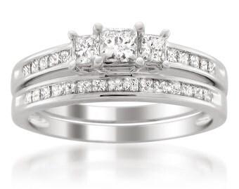 14k White Gold 1 1/2 cttw Princess-cut Three-Stone Diamond Bridal Set Ring (I-J, I1-I2)