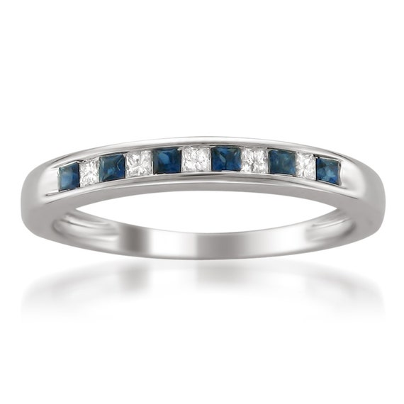 14k White Gold Princess-cut Diamond and Blue Sapphire Wedding Band Ring (1/3 cttw, H-I, I1-I2)