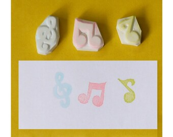 Music notes hand carved rubber stamp - handmade rubber stamp, handcarved rubber stamp, hand carved stamp, handmade stamp, handcarved stamp