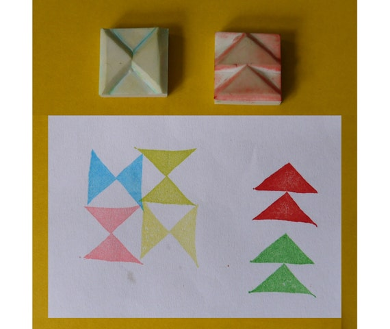 Geometric rubber stamp, set of 2 - triangle stamp, handcarved rubber stamp, hand carved rubber stamp, handmade rubber stamp,