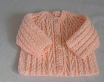 SALE ITEM: Baby sweater in apricot 3 to 6 months