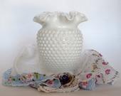 White Fenton Hobnail Milk Glass Ruffled Vase