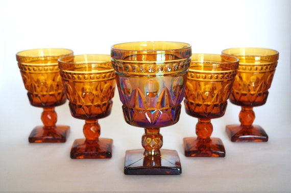Vintage Amber Indiana Glass Goblets - Kings Crown Thumbprint - Square Base - Carnival Glass
