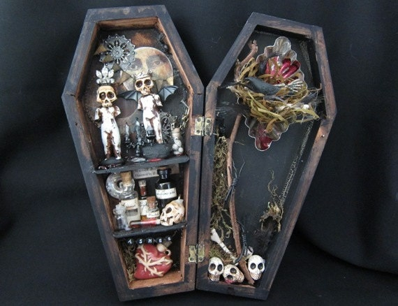 the Party - Miniature mixed media coffin curio shadow box