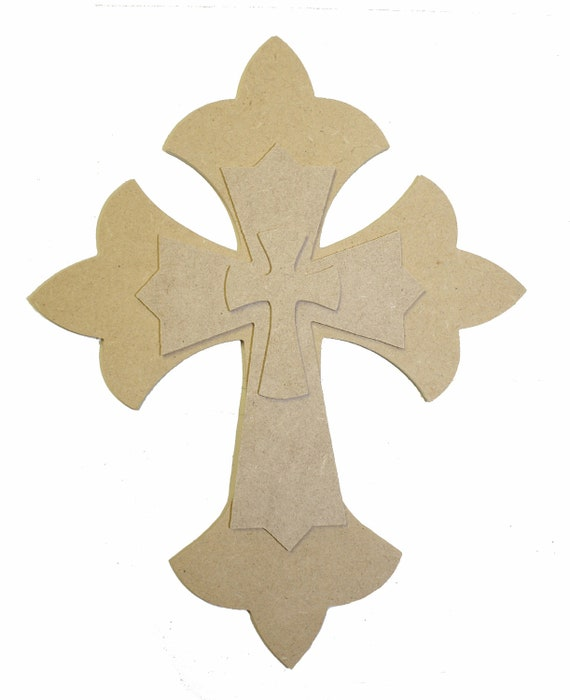 Unfinished Layered Stackable Set Cross Paintable Cutouts 9.5''ST2