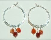 Custom for Neda - Sterling silver hammered hoop earrings with carnelian gemstones