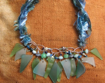 Mindful Glass Necklace in Blues and Greens