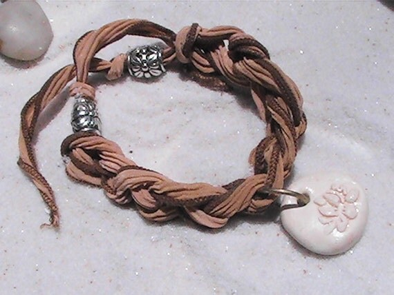 Sari crocheted wrap bracelet and lotus pendant charm