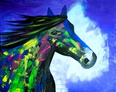 ORIGINAL  PALETTE Knife Textured Horse Abstract Painting Contemporary Art  Stallion Gallery Quality  Modern by Tanja Bell