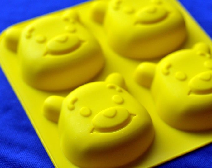 Silicone Winnie Bear Soap Mold Muffin Cupcake Chocolate Cake Mould - 4 Cavity