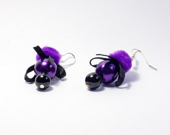 Violet Clouds - Shiny Purple & Black Earrings