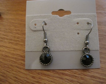 black gem earrings