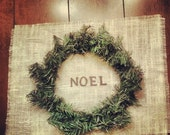 Set of 4 NOEL Burlap Christmas Placemats and wreaths included