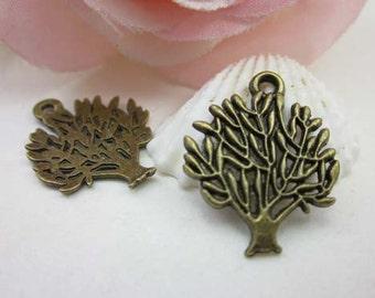 20pcs 24x30mm Antique Brass Tree Charms Pendant