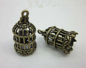 Antique Brass Lovely 3D Filigree Victorian Bird cage Birdcages Charms Pendants -2pcs