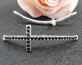 5 pcs 15x54mm Silver Plated Rhinestone Sideways Cross Charms Connector