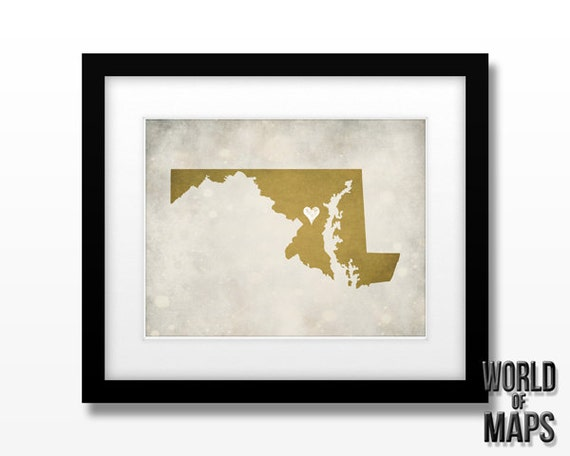 Maryland Map Print - Home Town Love - Personalized Art Print