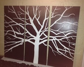3 panel black and white tree