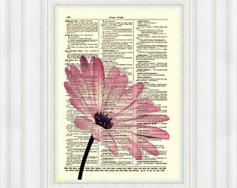 Pink Flower, Dictionary Art Print, Flower Art, Dictionary Print, Dictionary Page, Wall Decor, Mixed Media Collage, 019