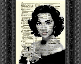 Elizabeth Taylor, Elizabeth Taylor with Orchid, Antique Dictionary Page, Dictionary Print, Wall Decor, Wall Art