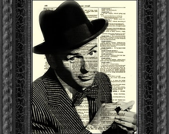Frank Sinatra Dictionary Art Print, Sinatra Art, Wall Decor, Dictionary Page Art, Sinatra Art Print, Mixed Media, Digital Art