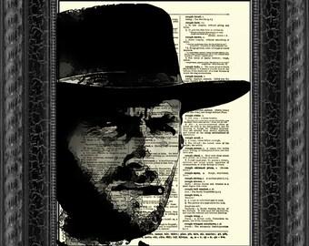 Clint Eastwood Dictionary Art Print, Wall Decor, Dictionary Page Art, Art Print, Mixed Media, Digital Art, 030