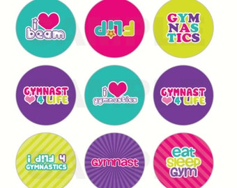 INSTANT DOWNLOAD - Gymnastics Bottle Cap Images - 4x6 Digital Sheet - 1 Inch Circles for Bottlecaps, Hair Bow Centers, & More