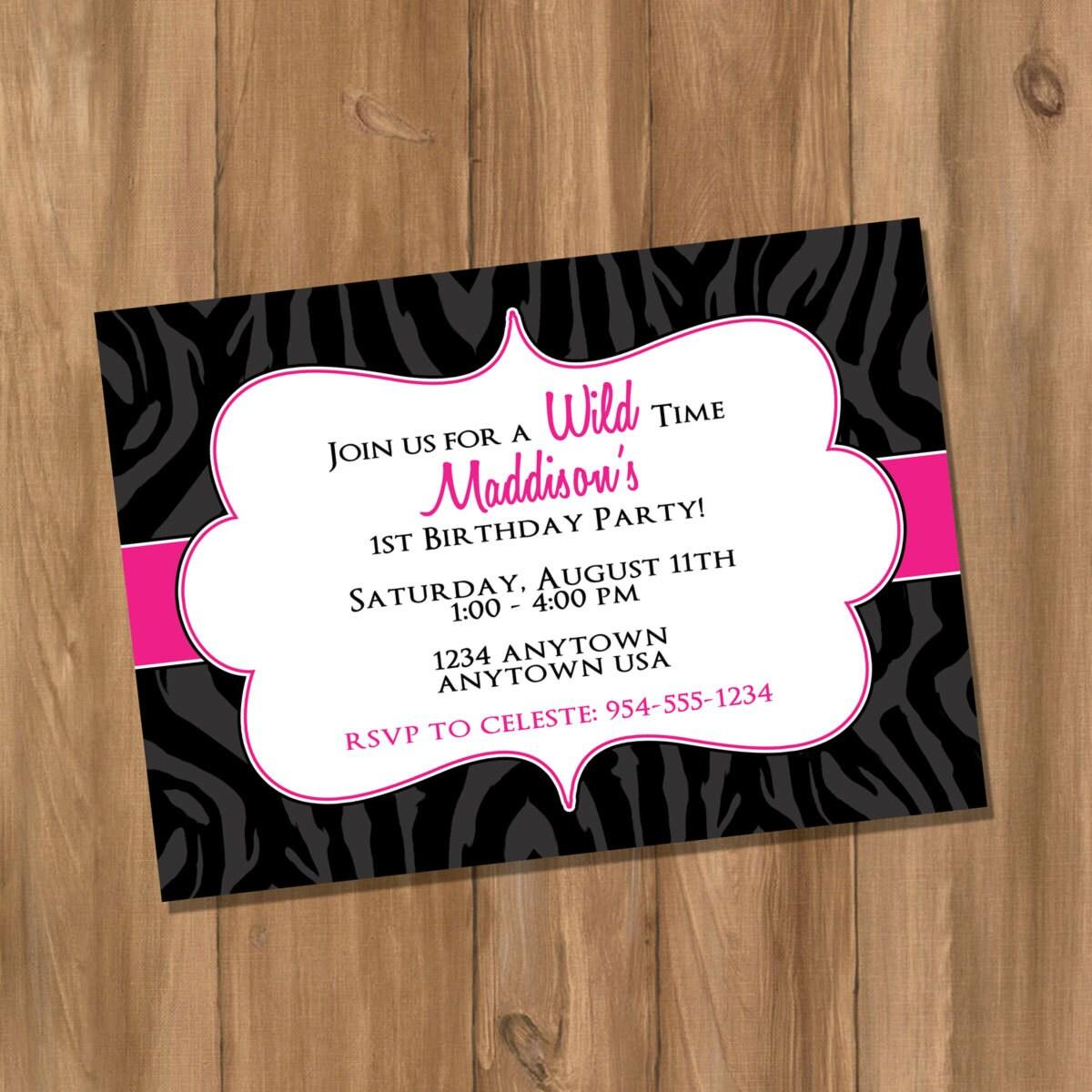 Pink And Black Zebra Birthday Party Invitation Digital DIY