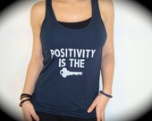 """American Apparel """"Positivity is The Key"""" Oversized Viscose Tank In Midnight Blue"""