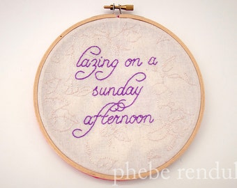 Embroidery Art - Lazing On A Sunday Afternoon - 6""