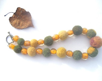 Felted Wool & Glass Bead Necklace