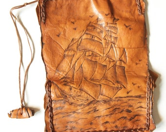 Handmade exclusive  leather tobacco pouch.