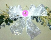 Swag - Pink Rose Swag - Silk Flowers and Greenery  Accented with White Lace Ribbon