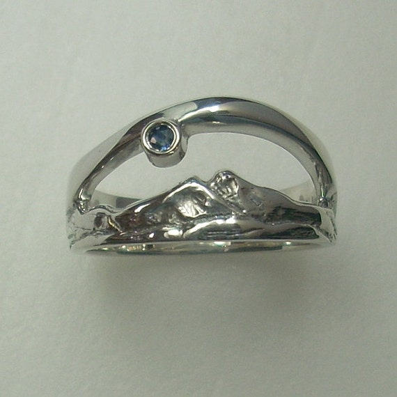 Twin Peaks Mountain Ring - Sterling Silver and Sapphire - Sapphire ring - Mountain scene ring - NL107