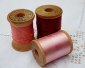 Rosy Vintage Thread and Wooden Spools-Corticelli, Bartlett