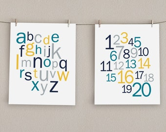 Alphabet & Numbers Nursery Art Print Set - Teal, Navy, Gray, Yellow, 8x10 (2)
