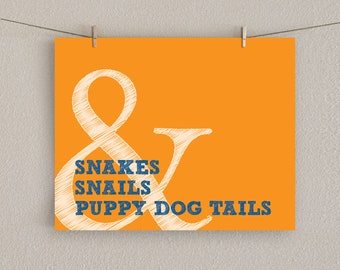 Baby Boy Nursery Art Print - Snakes & Snails and Puppy Dog Tails - Orange - 11x14