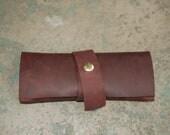 Hand stitched burgandy Handmade tobacco pouch