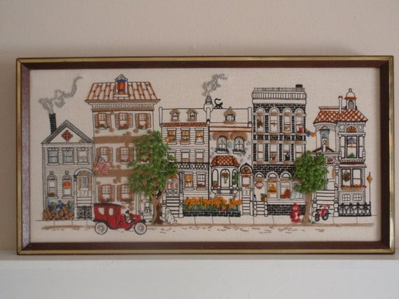 Vintage Embroidered Framed Row Houses Picture 1979