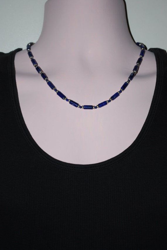 Mens Silver Plated and Lapis Necklace