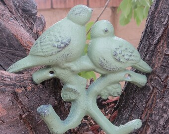 Bird Wall Hook / Cast Iron Hook / Sage Green or Pick Color/ Shabby Chic Dual Hook / Cottage Style Decor / Key Jewelry Hanger / Towel Holder