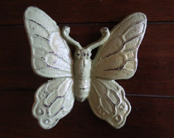 Butterfly Wall Hanging/Cast Iron/Vintage Inspired/Sage Green or Pick Your Color/Shabby Chic Wall Decor/Girl's Room