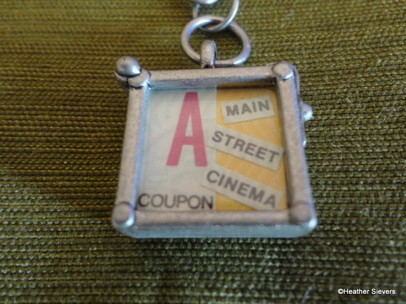 Vintage Disneyland Main Street Cinema Ticket Collage Necklace with Chain (reversible locket)