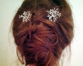 Clear glass bead silver wire wrapped hair pins (x2)